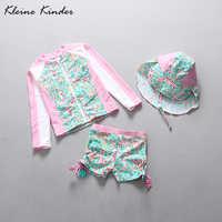 Mädchen Badeanzüge UPF30 + Sonnenschutz Lange Sleeve Zipper Floral Mädchen Bademode Kleinkind Kinder Badeanzug Mädchen Badeanzug Bademode