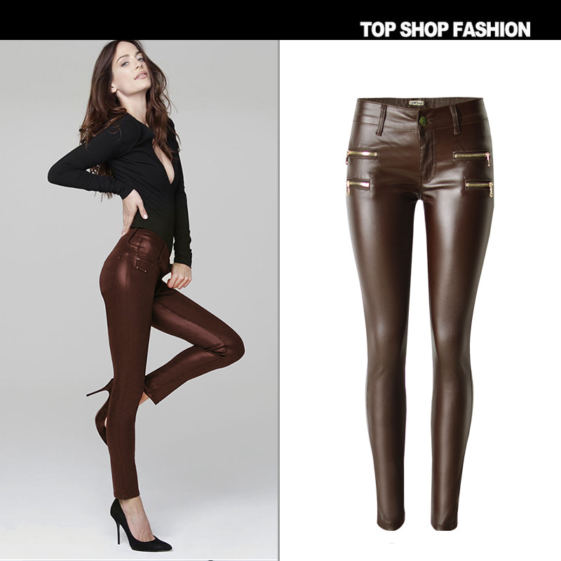 New wear brown small waist elastic double zipper foot trousers - selling PU imitation leather pants have big yards