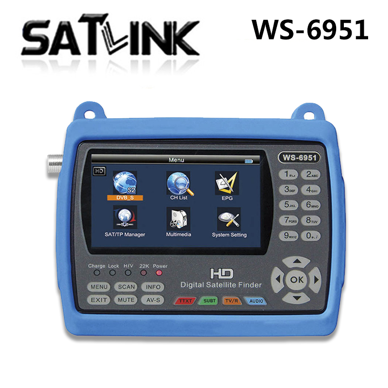 Satlink WS-6951 DVB-S/S2 HD Satellite Finder with MPEG-2/MPEG-4 compliant and backlight 6951 Meter satlink ws 6979se satellite finder meter 4 3 inch display screen dvb s s2 dvb t2 mpeg4 hd combo ws6979 with big black bag