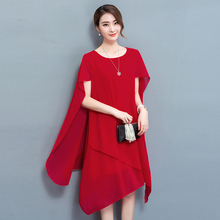 YICIYA Red Chiffon Cape Dress Elegant Formal Cloak sleeves Dinner Dresses for Women plus size 4xl 5xl Summer 2019 noble Clothing