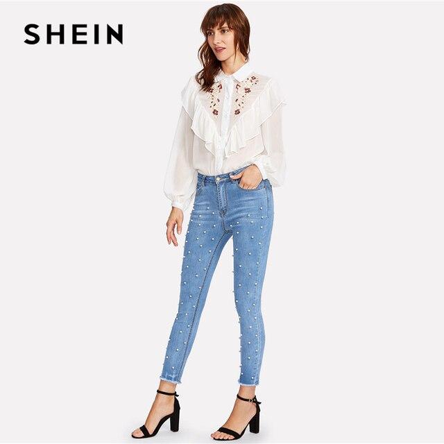 SHEIN Pearl Beaded Frayed Jeans 2018 Summer Blue Mid Waist Pocket Zipper Fly Jeans Women Hem Denim Casual Pants 3