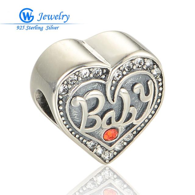Tailandia joyas de plata 925 antigo encantos do encanto do coração de cristal do bebê se encaixa para pulseira diy gw fine jewelry x357h20