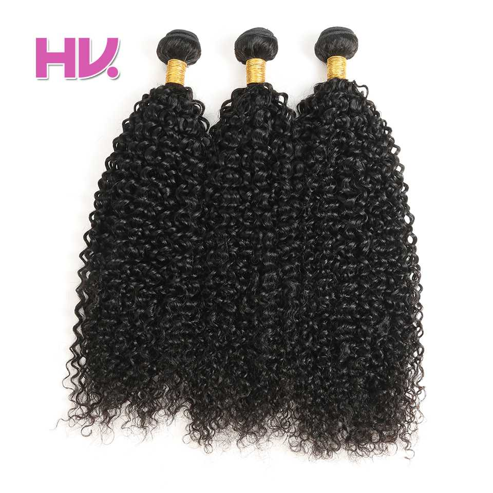 Hair Villa Pre-colored Brazilian Jerry Curly Hair Extensions 100% Human Hair Weave Non-remy Hair Bundles #1B Natural Black