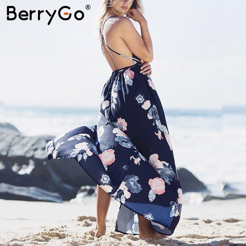 BerryGo Boho deep v neck backless long women dress Chiffon split cross lace up summer dress Sleeveless beach maxi dress vestidos