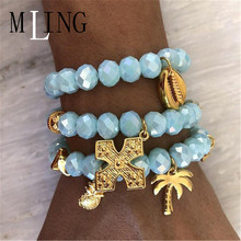 MLING 3 Pcs/Set Bohemia Shell Coconut Tree Cross Blue Crystal Bracelet Set Charm Women Gold Multilayer Bracelets Jewelry