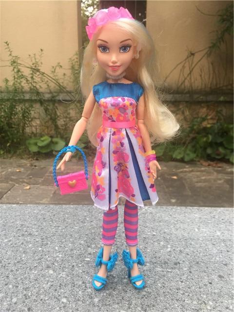 """Figuras de acción de los descendientes de Disney, muñecos de juguete sueltos, con bola de luces de neón, 11 """"/28cm, Ally Auradon Prep"""