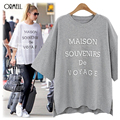 New Women T Shirt Solid Letter Printed Black/Gery/White T-Shirt Casual Loose Tops Summer Style