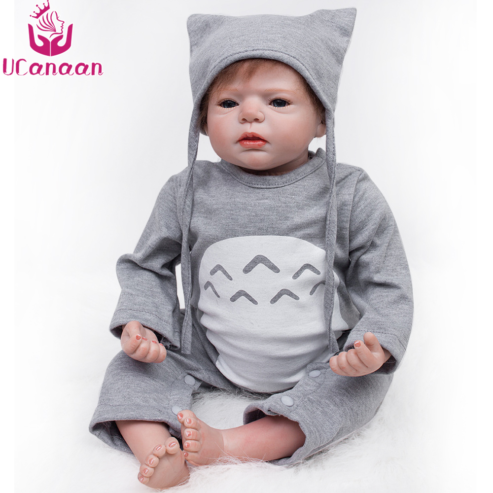 UCanaan Silicone Dolls Reborn Babies 55CM Toys For Girls Handmade Baby Alive Lifelike Cloth Body Baby Interactive Doll ucanaan reborn baby dolls realistic soft cloth body handmade lifelike reborn babies doll toys baby sleeping partners 50 55cm