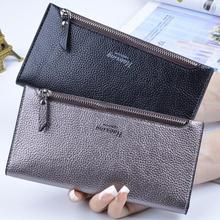 2019 New Fashion Women Lady Leather Purse Long Wallet Bag Card Holder Card Case Handbag Clutch Black/ Silver #20