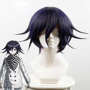 Danganronpa V3: Killing Harmony Ouma Kokichi Cosplay Wig for Man Boys Short Straight Anime Wig Christmas Party Gift Blue Black(China)