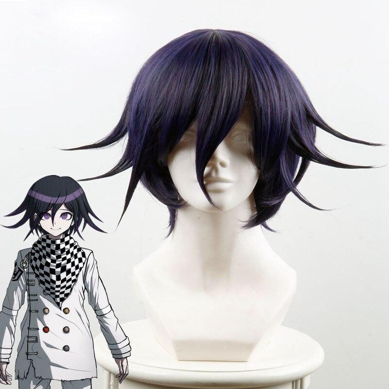 Danganronpa v3: matando harmonia ouma kokichi cosplay peruca para o homem meninos curto em linha reta anime peruca presente de festa de natal azul preto