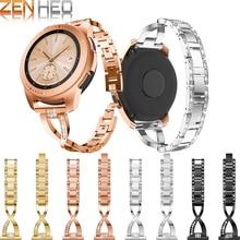 Купить с кэшбэком Replacement Metal Strap For Samsung Galaxy Watch 42mm Smart Watch Wearable Wrist Bracelet Bling Rhinestone Watchband 20 MM Strap