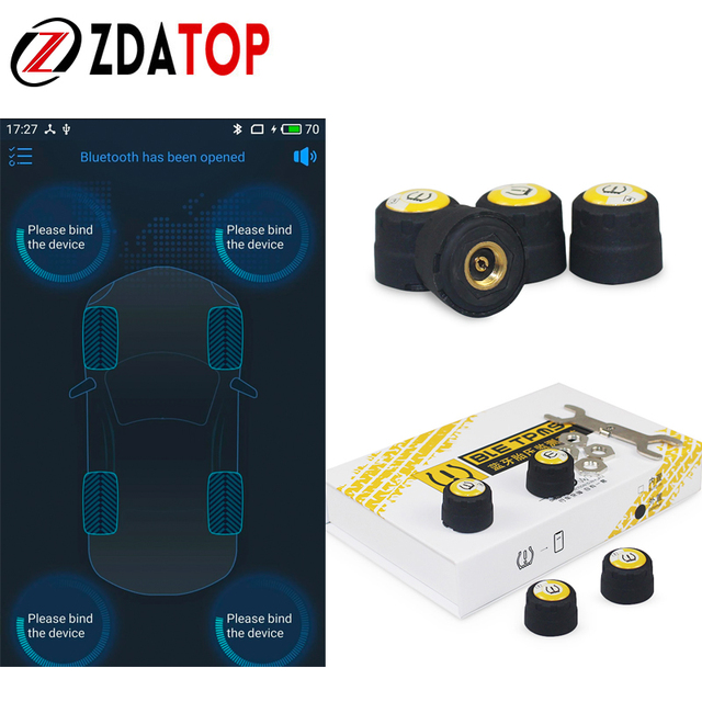 4 Pieces Sensors TPMS Bluetooth 4.0 Car Outer TPMS Tire Pressure Monitoring BLE TPMS Low Energy For Android And IOS