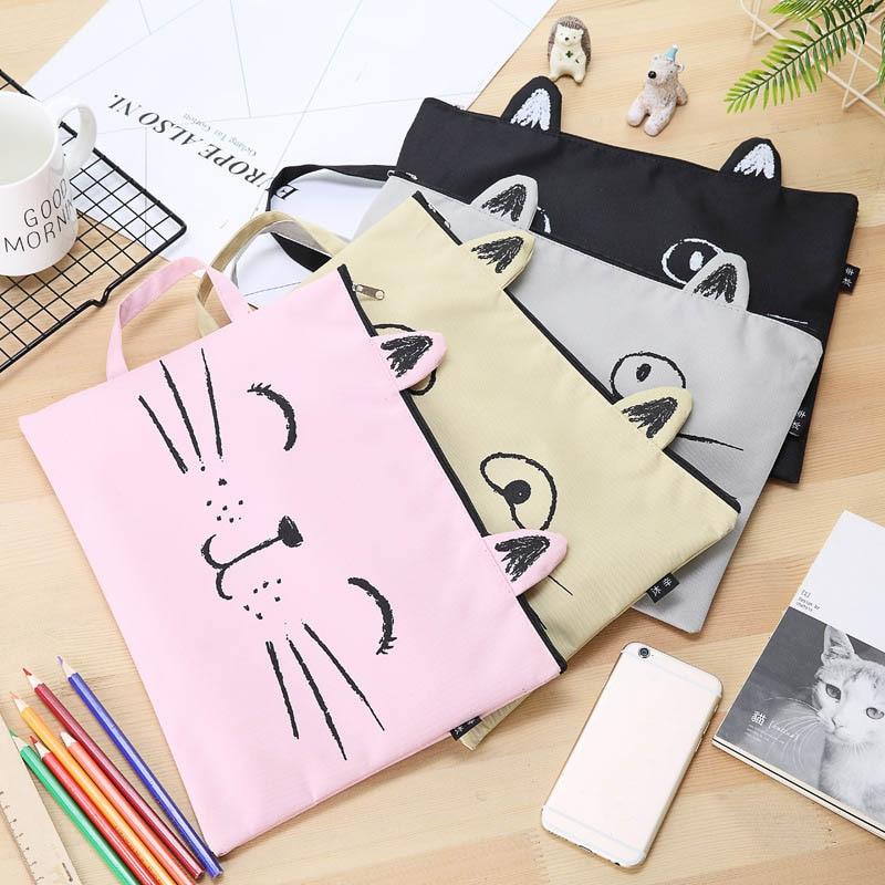1pcs Kawaii Document Bag Cute Cat A4 Canvas Bag Briefcase Paper Stationary Paper Organizer Bag Teacher Bag Paper Organizer