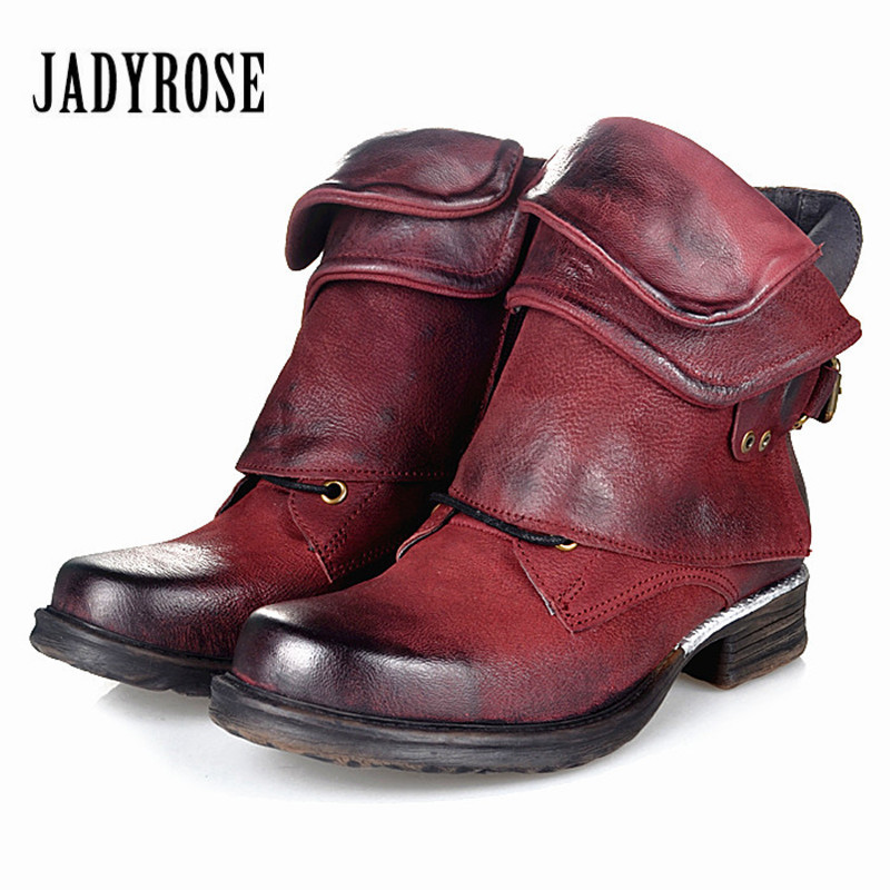 Jady Rose Fashion Genuine Leather Women Ankle Boots Punk Style Flat Boots Buckle Decor Short Botas Militares Knight BootiesJady Rose Fashion Genuine Leather Women Ankle Boots Punk Style Flat Boots Buckle Decor Short Botas Militares Knight Booties