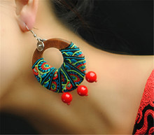 Dangle earrings accessories for women 2016 new drop earring wedding birthday gift special design 3 color wooden embroidery D082