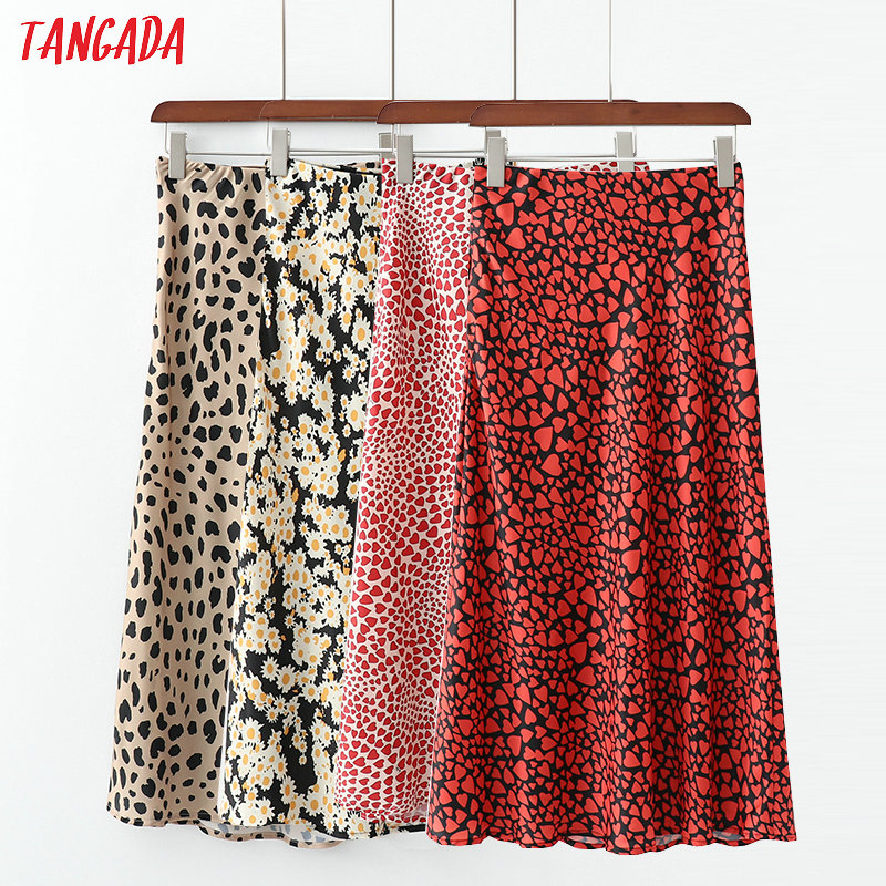 Tangada 2019 Fashion Women Chiffon Skirt Faldas Mujer Retro Female Heart Printed Skirt High Waist Beach Wear Skirts 1D100