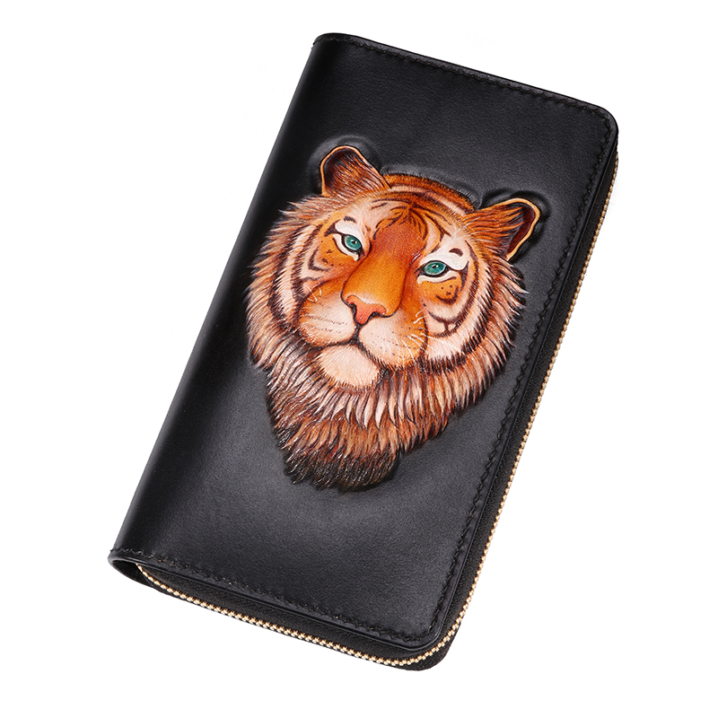 High-end customization Genuine Leather Wallets Carving Tiger Bag Purses Men Long Clutch Vegetable Tanned Leather Wallet GiftHigh-end customization Genuine Leather Wallets Carving Tiger Bag Purses Men Long Clutch Vegetable Tanned Leather Wallet Gift
