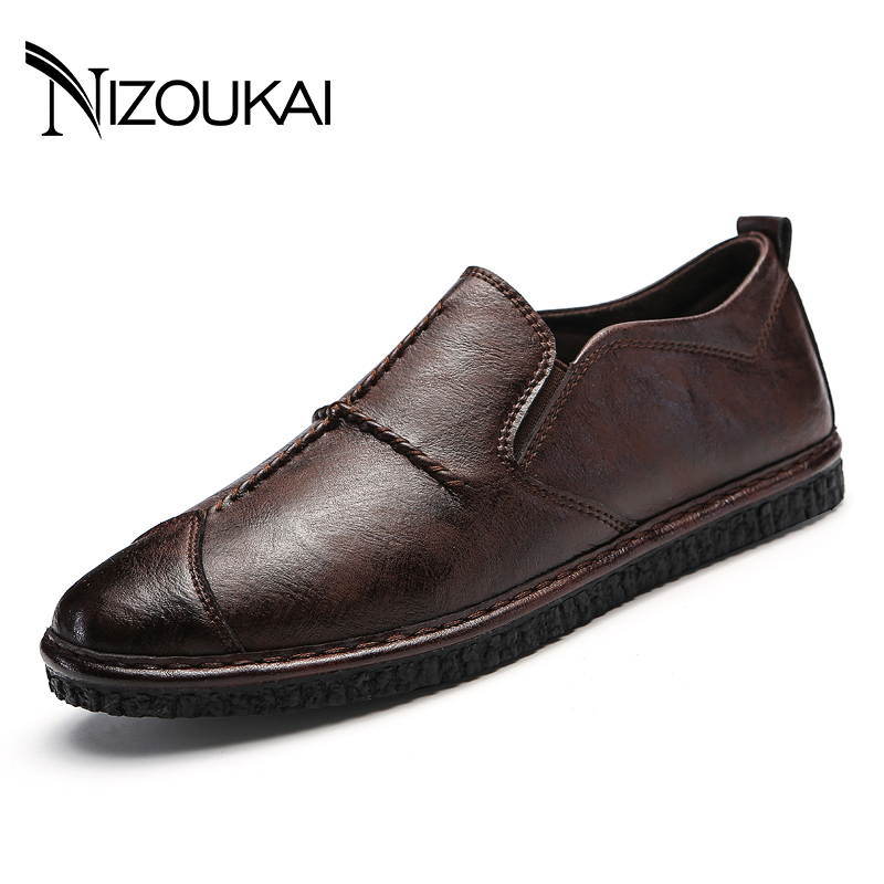 цена на Mens Loafers Flats Moccasins Men Shoes Slip-on Breathable Charm Casual Round Toe Brown shoes