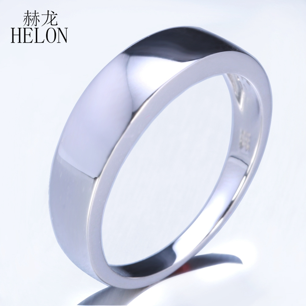 HELON Real 925 Sterling silver simple elegant Trendy Fine Jewelry Engagement Wedding Anniversary Fine Ring Band
