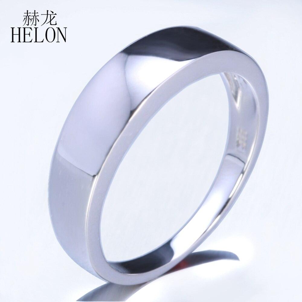 HELON prawdziwe 925 Sterling silver proste eleganckie Trendy Fine biżuteria zaręczynowe obrączki ślubne rocznica Fine opaska pierścieniowa w stylu męskim w Pierścionki od Biżuteria i akcesoria na  Grupa 1