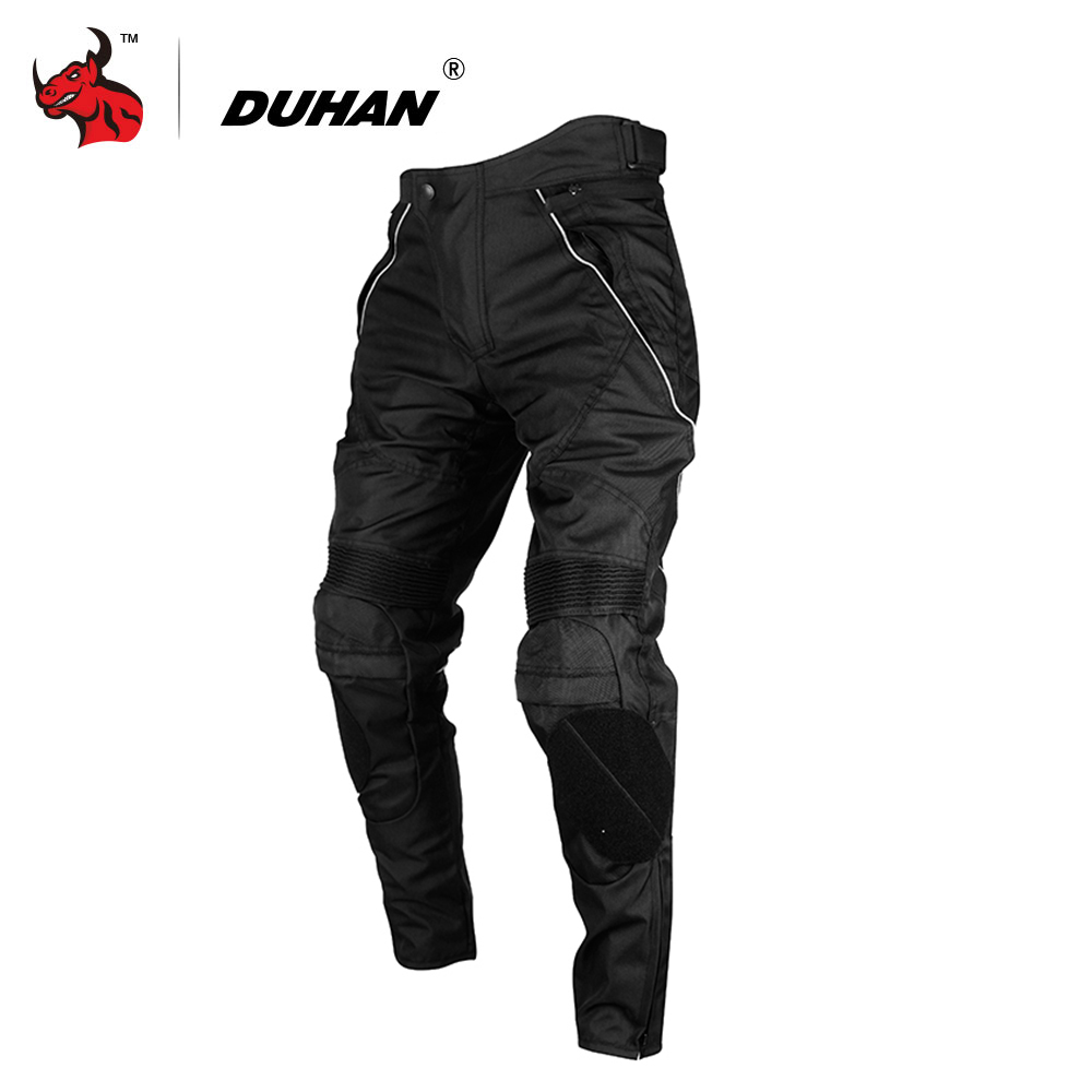 лучшая цена DUHAN Motorcycle Pants Men Motocross Pants Windproof Motorcycle Trousers Motocross Riding Pants With Removable Protector Guards