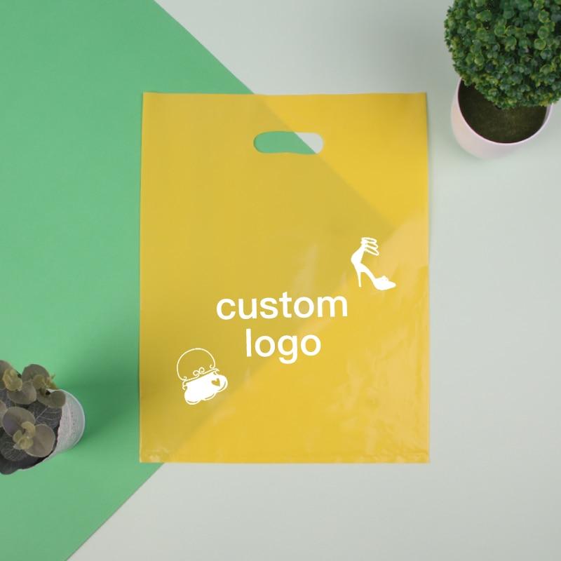 200 pcs Accepter Personnaliser le logo En Plastique Cadeau Sac Boutique Transporteur Commerciaux Sacs Bijoux Emballage Sacs Avec Poignée