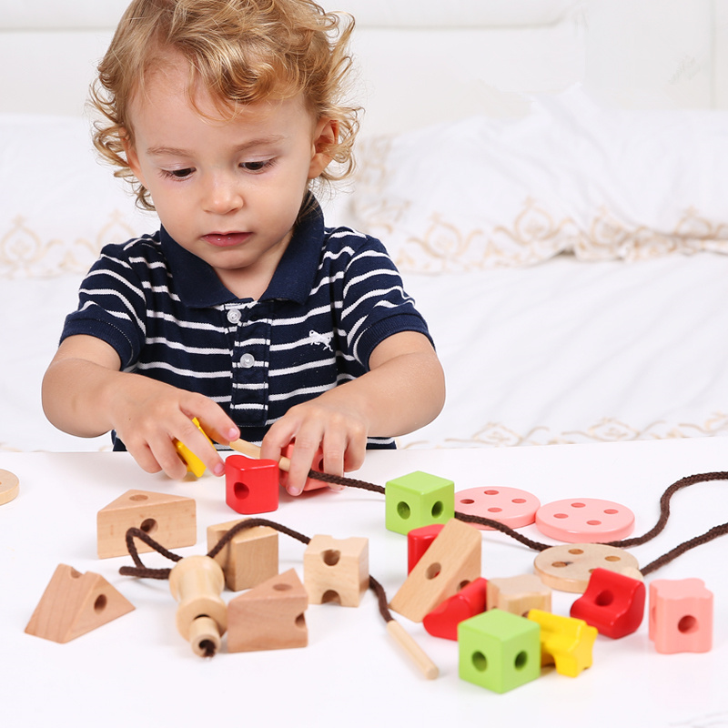 26pcs Large Geometric Assembling Blocks String Rope Wooden Toys For Kids Child Montessori Educational Beads Toys Birthday Gift Strengthening Waist And Sinews