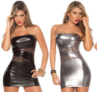 New Pvc Leather Sexy Lingerie Sexy Outfit Erotic Dress Up Sex Costume Lenceria Wrapped Short Dress