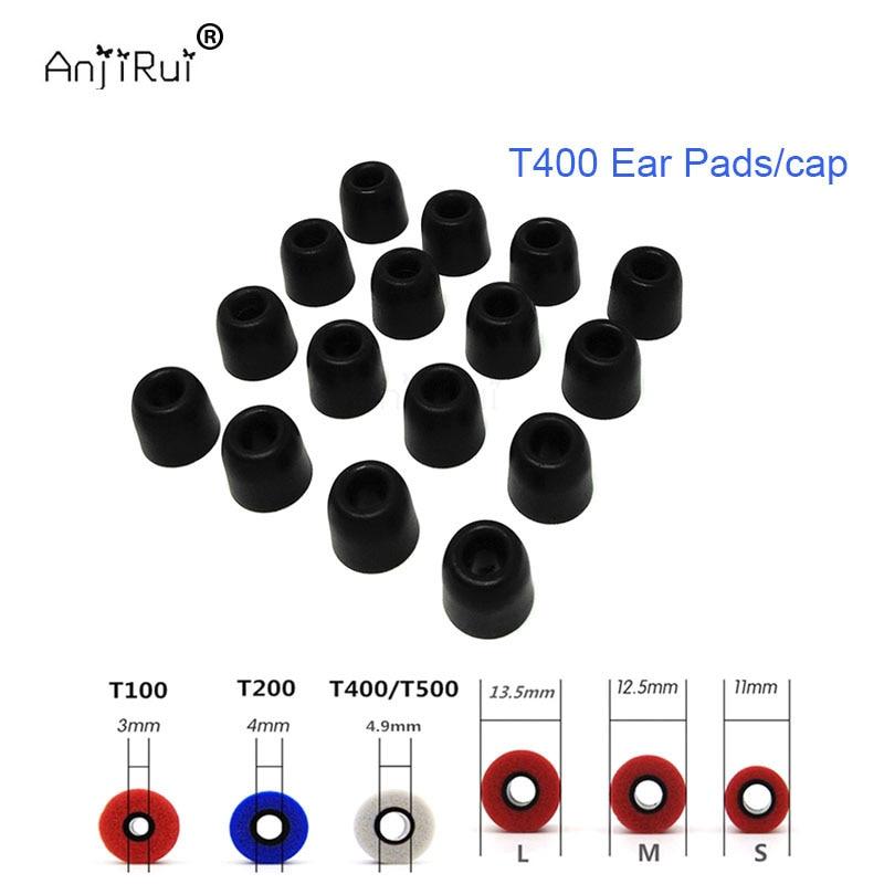 16 pcs/8 paire ANJIRUI T400 noir 4.9mm 12.5mm isolation mousse conseils pour in-ear écouteurs casque écouteurs basses renforcées Oreille tampons
