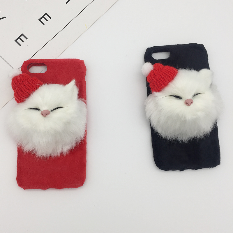 Christmas Hat Cute Cat Fluffy Fur Phone Case For iPhone X XS Max XR DIY Lovely Plush Hair Cover For iPhone 8 7 6s 6 Plus Coque (3)