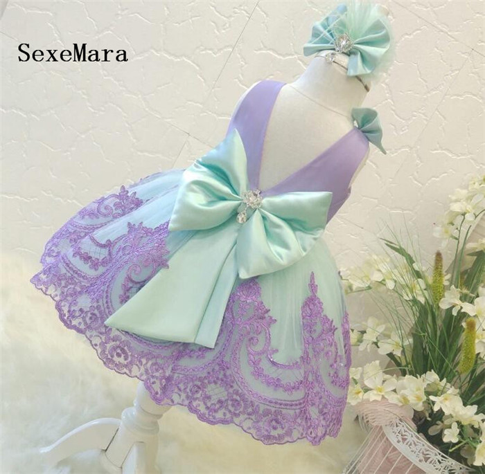 Cute Purple Lace High Quality Baby Girls Birthday Dress O Neck Bow Girls Christmas Dress Party Pageant Dress with Headband 2017 new high quality girls children white color princess dress kids baby birthday wedding party lace dress with bow knot design