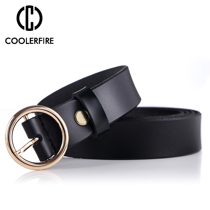 COOLERFIRE Fashion Classic round buckle Ladies wide belt Women 39 s design high quality female casual leather belts for jeans LB007 in Women 39 s Belts from Apparel Accessories