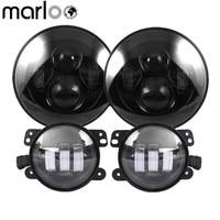 Marloo DOT 7 Inch LED Headlight With 4 Fog Lights Set Kit Projector For Jeep Wrangler