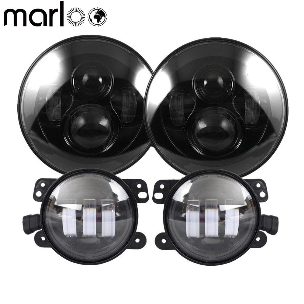 Marloo DOT 7 inch LED Headlight with 4 Fog Lights Set Kit Projector For Jeep Wrangler JK LJ JKU TJ CJ Sahara Rubicon Freedom 60w 12v 4300k universal cree led headlight with hight power led driving lights for jeep wrangler cj 7 cj 8 replacement kit