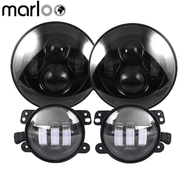 "Marloo DOT 7 inch LED Headlight with 4"" Fog Lights Set Kit Projector For Jeep Wrangler JK LJ JKU TJ CJ Sahara Rubicon Freedom"