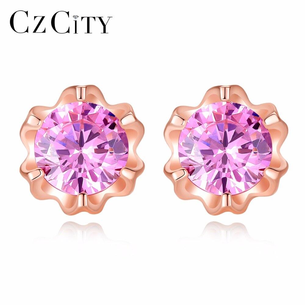 CZCITY Marque Mignon Rose Zircon Cubique Fleur En Cristal 925 Argent Boucles D'oreilles 2018 New Designs Argent Fine Bijoux pour Femmes Cadeau