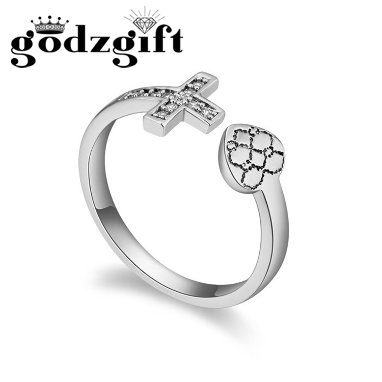 Godzgift Womens Heart Cross Finger Rings Ladies Wedding Nail Ring Modern Jewelry Gifts New Fashion Crystal Ornaments New JR5026