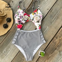 CUPSHE Flora Print And Striped One-piece Swimsuit Women Cutout Adjustable Heart Neck Monokini 2018 Girl Patchwork Swimsuits