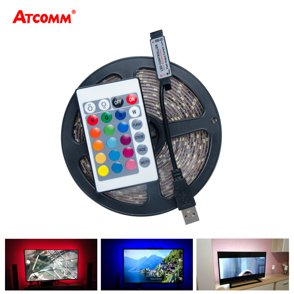 5V USB RGB LED Strip Light 2835 60 LEDs/m LED Diode Ribbon Tape Light HDTV Desktop PC Background Lighting 3 17 24 Key Controller ...