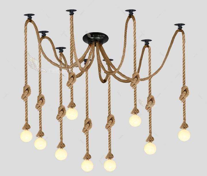 Винтажная промышленная лампа в стиле кантри, черная Подвесная лампа в виде паука из пеньковой веревки для кафе, столовой