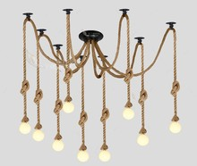 Старинные чердак американский кантри черный паук лампа конопли веревки подвесные светильники для кафе столовая