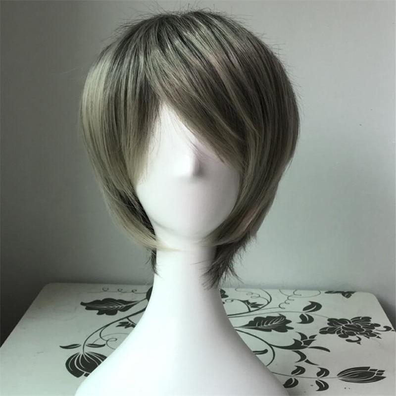 Takerlama Fashion Gray Short Straight Lolita Wigs For Men Cosplay Harajuku Wig Hair Universal Wig Costume Halloween Dropshipping High Resilience