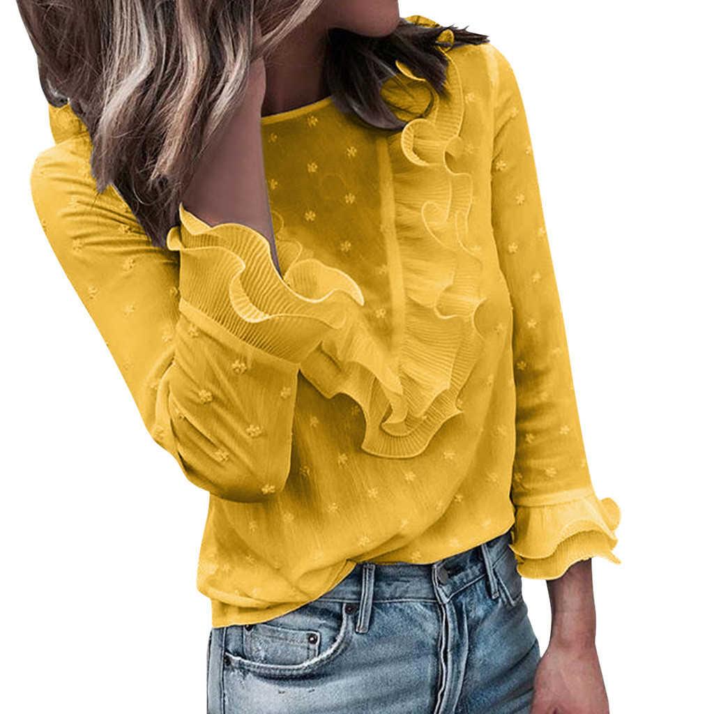 JAYCOSIN kobiety Dot O Neck z długim rękawem bluzka kwiatowy dekolt w serek bandaż rękawy koszuli nowych moda jesień panie topy 719