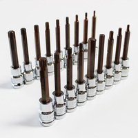 pack of 18 pieces socket bit set torx hex 12 point 1/2 inch drive extra long 100mm triple square spline