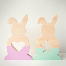 INS Nordic Style Wooden Hollow Star Love Bunny Ornaments For Kids Room Decoration Wood Rabbit Baby Toys Crafts Gifts Photo Props