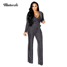 dd5e0a43424 Mutevole Sexy Bodycon Elastic Jumpsuit Women Ribbed Long Sleeve Casual  Jumpsuit Back Zipper Deep V Neck