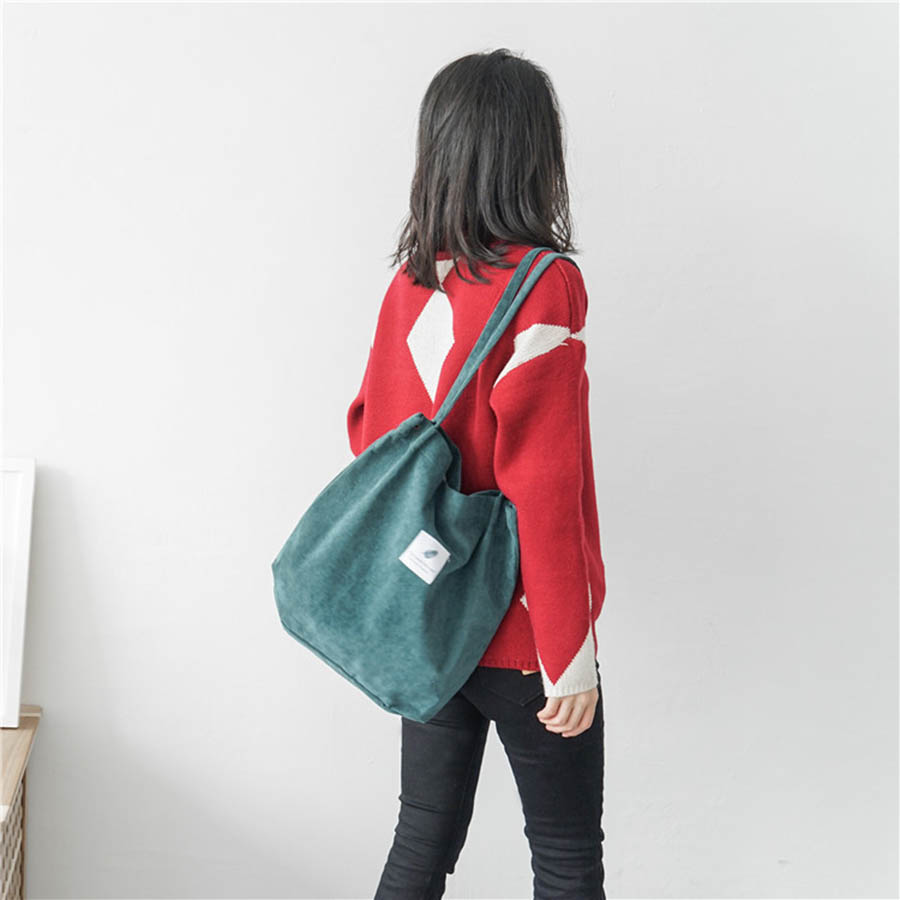 Mara's Dream High Capacity Women Corduroy Tote Ladies Casual Solid Color Shoulder Bag Foldable Reusable Women Shopping Beach Bag 22