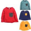 Crianças T-shirt de Algodão Sólidos Moda Infantil Camisetas de Manga Longa Meninos Meninas Roupas Camisetas Unissex Casual Blusa Bordado Tops