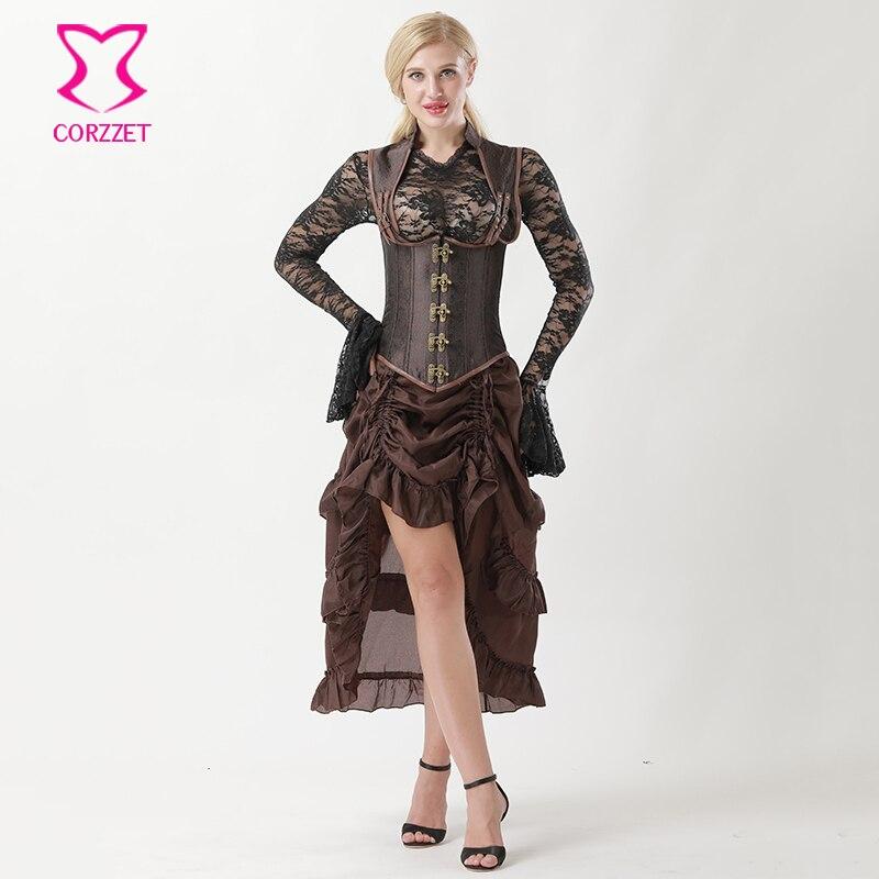 Analytisch Vintage Steampunk Underbust Corset Vest Rok Set Burlesque Jurk Cupless Corselet Sexy Korsetten En Bustiers Gothic Kleding